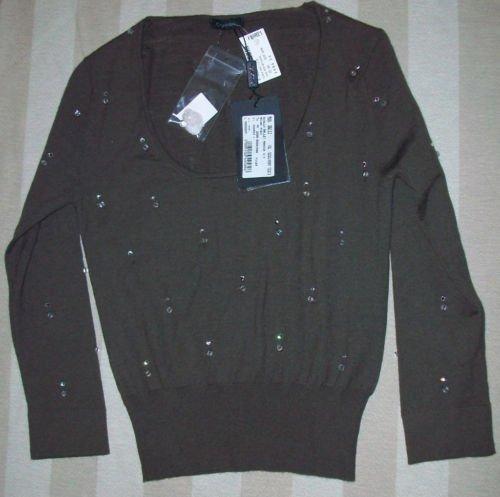 NEW Cruciani Coffee Cashmere Crystal Sweater 40 S $680