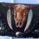 Carved Bullhorn Snake Motorcycle Front Bar Leather Bag