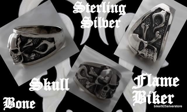 Sterling Silver Skull Bone Flame Biker Ring US 10.75