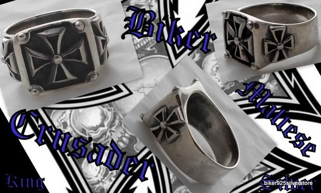 CRUSADER BIKER MALTESE KING SOLID SILVER RING SZ 10.25