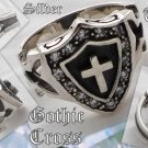 925 Tribal Silver Biker gothic cross Shield ring sz 10