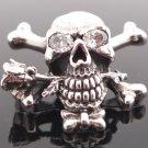 925 Silver Skull Bone Rose Gemstone Eye Biker Pendant