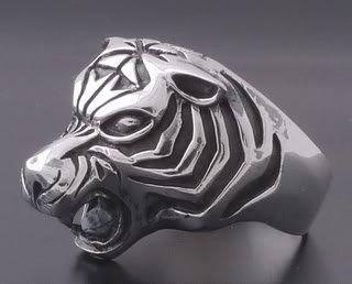 925 Silver Massive Tiger Biker King Ring US sz 12.25