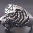 925 Silver Massive Tiger Head Biker Ring US sz 13.5
