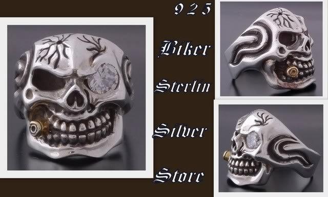925 STERLING SILVER CRACKED SKULL BIKER RING SZ 12