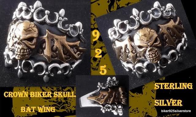 925 SILVER CROWN SKULL BATWING BIKER KING RING US SZ 10