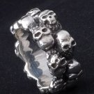 925 SILVER MULTI SKULL BIKER KING BAND RING sz 9.5