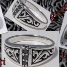 925 SILVER TRIBAL CELTIC MAORI GEM BIKER RING sz 10.75
