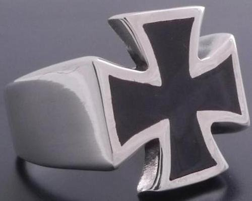 Silver Maltese Cross Biker Chopper Knight Ring sz 11.25