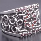 CUSTOM TRIBAL TATTOO GEMSTONE STERLING SILVER RING sz10