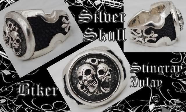 CUSTOM STERLING SILVER STINGRAY SKULL BIKER RING SZ 10