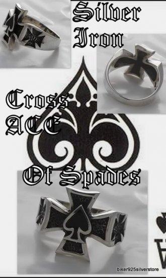 925 Silver Maltese Cross Good Luck Ace of Spades 13