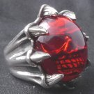 925 SILVER SKULL CLAW RED GLASS BIKER RING SZ 10.75