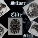 925 SILVER ELITE GEMSTONE SKULL BIKER RING US sz 10.25