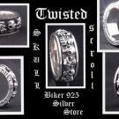 STERLING SILVER TWISTED SKULL SCROLL Bike RING SZ 10.75