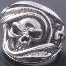 925 Silver Solid Gecko Skull Biker Ring US sz 10.75