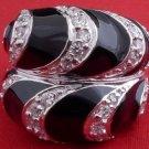 925 Silver Black Enamel Ladies Ring US sz 7