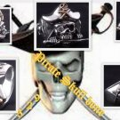 925 SILVER MACHETE PIRATE SKULL GEM BIKER RING US sz 10