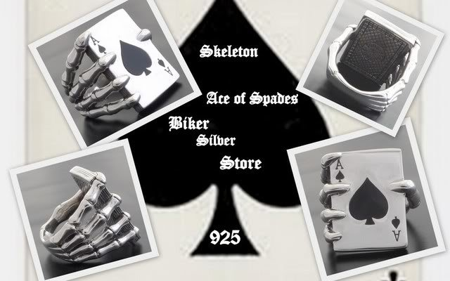 925 SILVER SKELETON ACE CARD DECK BIKER KING RING 11.5