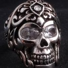 925 SILVER SKULL TRIBAL TATTOO GEM BIKER RING sz 10.75