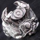 Sterling Silver Tribal Piston Wing Biker Ring sz 11.5