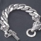 SUPER FANCY DRAGON 925 SILVER HEAVY BIKER BRACELET 8.5""