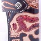 NEW Skull Design Calf Leather Python Skin Biker Wallet