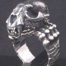 925 SILVER MONSTER SKULL SABER JAW BIKER RING SZ 10.75