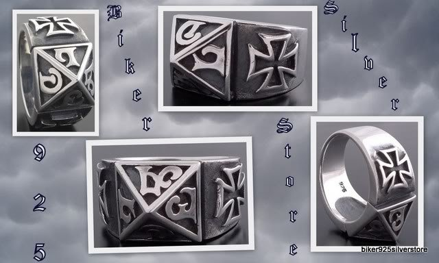 925 SILVER MALTESE CROSS TRIBAL GOTHIC KING RING 11.5