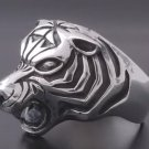 925 Silver Massive Tiger Head Biker Ring US sz 11.5