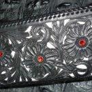 BIFOLD 925 FLOWER WHITE CROCODILE LEATHER BIKER WALLET