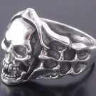 Sterling Silver Skull Bone Flame Biker Ring US sz 10.75