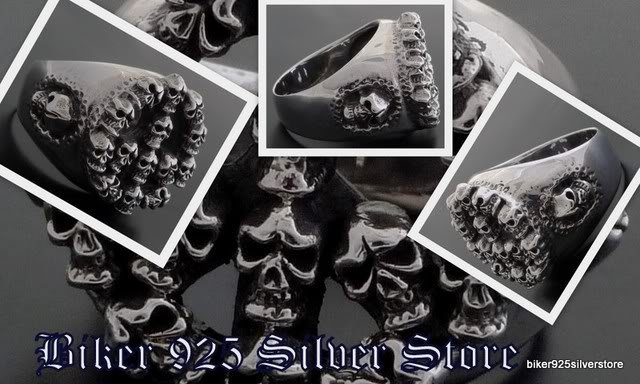 925 SILVER CROSS SUPER SKULL BIKER KING RING sz 12
