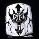 925 SILVER MALTESE CROSS TRIBAL ARROW BIKER RING 11.75