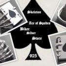 925 SILVER SKELETON ACE CARD DECK BIKER KING RING 11.75