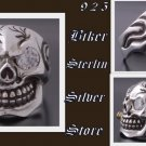 925 STERLING SILVER CRACKED SKULL BIKER RING SZ 11.5