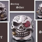 925 Silver 3D Skull Cigar Biker Pirate Ring US sz 9.5