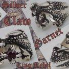 925 SILVER BATTLE CLAW GARNET BIKER KING RING sz 12