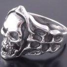 Sterling Silver Skull Bone Flame Biker Ring US sz 12.75