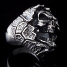 925 SILVER CUSTOM ENCRUSTED SKULL KING BIKER RING sz 12