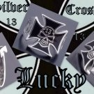 925 Silver Iron Cross Lucky 13 Skull Bone Ring sz 11.25