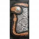 BIFOLD TRIBAL FLOWER PYTHON SKIN LEATHER WALLET
