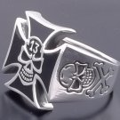925 Silver Iron Cross Lucky 13 Skull Bone Ring sz 11