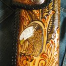 BIFOLD CARVED EAGLE CALF LEATHER CHOPPER BIKER WALLET
