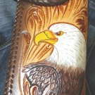 CUSTOM BIFOLD CARVED EAGLE CALF LEATHER CHOPPER WALLET