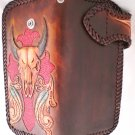 AWESOME BIFOLD CARVED BULLHORN TRIBAL FEATHER GOTHIC CROSS BIKER CHOPPER CALF LEATHER WALLET