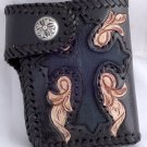 AWESOME BIFOLD SMALL CARVED GOTHIC CROSS FLOWER TRIBAL BIKER CHOPPER CALF LEATHER WALLET