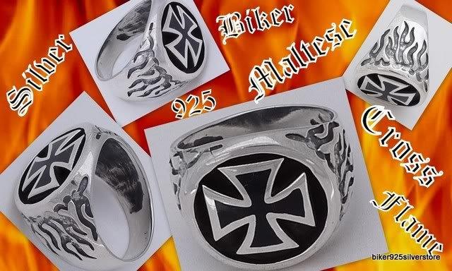 925 Silver Iron Cross Flame Biker Rockstar Ring SZ 12