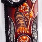 BIFOLD CARVED GHOST SKULL SNAKE / CALF LEATHER WALLET