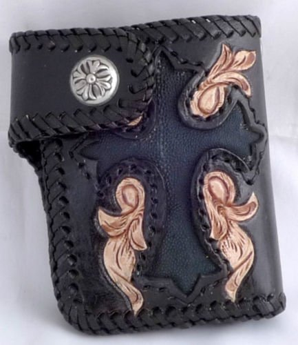 BIFOLD CARVED GOTHIC CROSS FLOWER CALF LEATHER WALLET